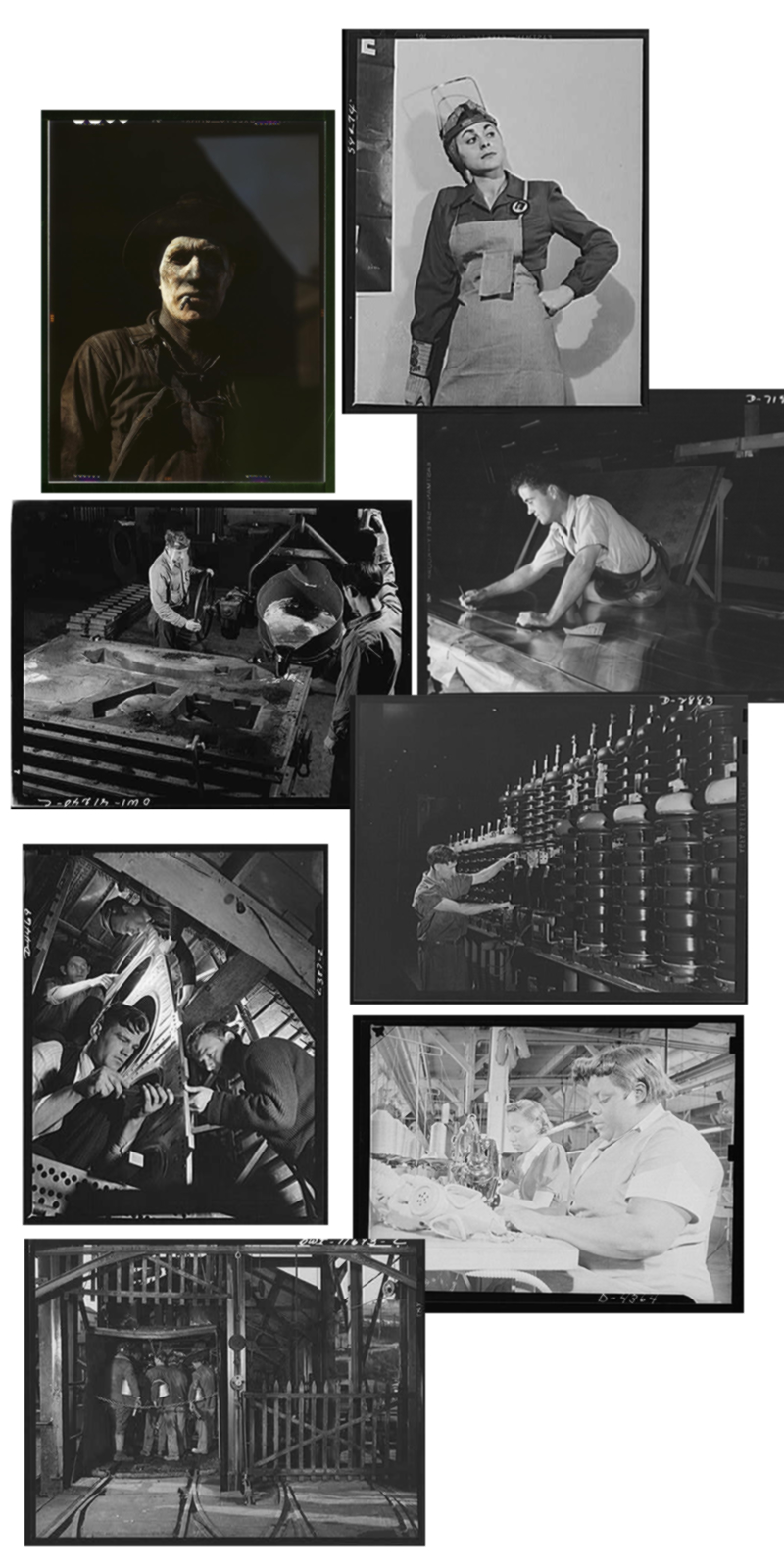 Collage of Eight Photographs of American Workers during World War II